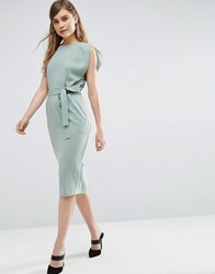 Asos Belted Midi Dress With Split Cap Sleeve And Pencil Skirt Green