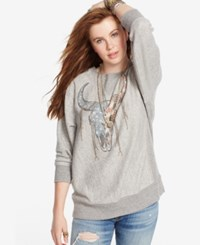 Denim And Supply Ralph Lauren Oversized Graphic Sweatshirt Grey Heather