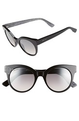 Women's Jimmy Choo 'Mirta' 49Mm Glitter Detail Cat Eye Sunglasses Black