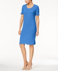 Ny Collection Textured Scalloped Dress French Blue