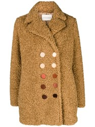 Marco De Vincenzo Double Breasted Coat Brown