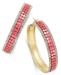 Thalia Sodi Gold Tone Pink Bead And Pave Mesh Hoop Earrings Only At Macy's