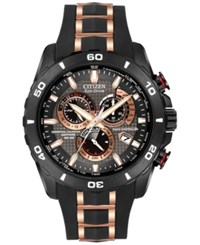Citizen Men's Chronograph Eco Drive Black With Rose Gold Tone Stainless Steel Strap 45Mm At4029 01E