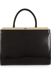 Halston Embellished Glossed Leather Tote Black