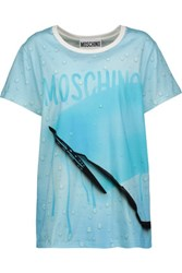 Moschino Printed Cotton T Shirt Sky Blue
