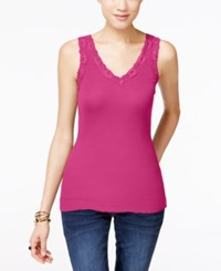 Inc International Concepts Lace Trim Tank Top Only At Macy's Intense Pink