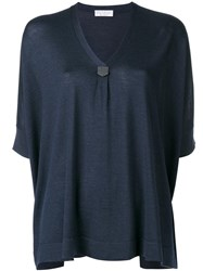 Brunello Cucinelli Loose Fit V Neck Jumper Blue