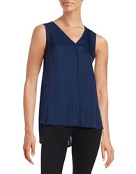 Lord And Taylor Woven Front V Neck Shell Navy Night