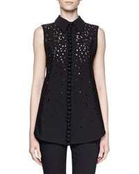 Proenza Schouler Sleeveless Collared Embroidered Top Black