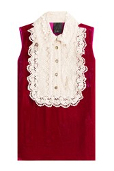 Anna Sui Velvet Sleeveless Top With Lace Pink
