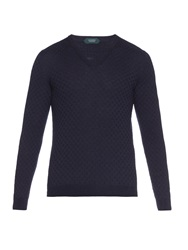 Zanone Cable Knit V Neck Sweater