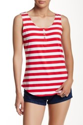 Cable And Gauge Stripe Button Tank Red