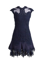 Jonathan Simkhai Mesh Insert Fluted Hem Lace Dress Blue