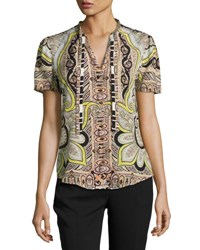 Etro Short Sleeve Paisley Print Blouse Black