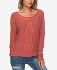 Roxy Juniors' Cable Knit Boat Neck Sweater Dusty Pink