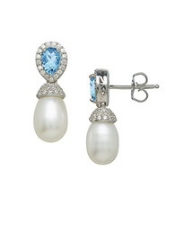 Lord And Taylor Sterling Silver And Fresh Water Pearl Earrings With Blue And White Topaz Stones