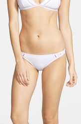 Junior Women's Rhythm 'My Basic' Ruched Bikini Bottoms White