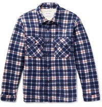Noon Goons Faux Shearling Lined Checked Felt Overshirt Blue