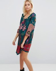 Lavand Floral And Paisley Print Dress G Green