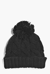 Boohoo Knit Bobble Beanie Black