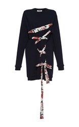 Msgm Navy Criss Cross Sweatshirt