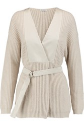 Brunello Cucinelli Satin Paneled Ribbed Knit Cashmere Cardigan Cream