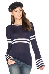 Autumn Cashmere Bell Sleeve Stripe Sweater Navy
