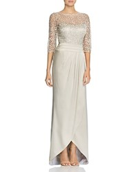 Kay Unger Embroidered Lace And Satin Gown Champagne