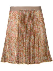Coach Floral Pleated Skirt Green