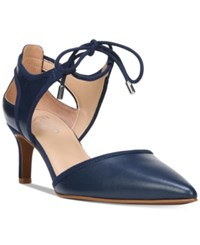 Franco Sarto Darlis Ankle Tie Pointed Toe Pumps Women's Shoes Blue