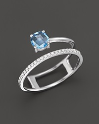 Bloomingdale's Blue Topaz And Diamond Ring In 14K White Gold