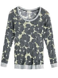 Sandwich Crinkled Printed Jersey Top Grey
