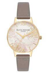 Olivia Burton Abstract Faux Leather Strap Watch 30Mm Rose Gold White Gold