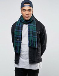 Fred Perry Blackwatch Tartan Scarf In Cashmere Mix Black