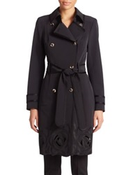 Escada Rose Embroidered Trenchcoat Black