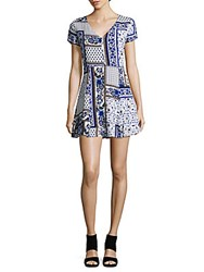 Lucca Couture Scarf Print Short Sleeve Dress Blue
