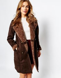 Pull And Bear Pullandbear Chocolate Shearling Coat Brown