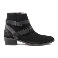 H Shoes By Hudson Women's Meeya Suede Buckle Heeled Ankle Boots Black