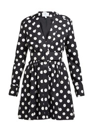 Rebecca De Ravenel Polka Dot Cotton Blend Dress Black White