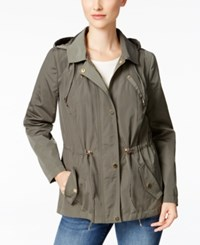 Charter Club Petite Water Resistant Hooded Utility Jacket Only At Macy's Green Tea