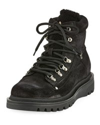 Moncler Egide Suede Hiking Boot With Shearling Trim Black