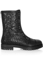 Jimmy Choo Hatcher Perforated Leather Boots Black