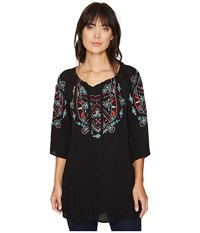 Scully Cantata Embroidered Tunic Black Women's Blouse