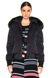 Kenzo Tech Outerwear Nylon Jacket With Fur Hood In Black