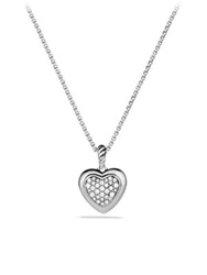 David Yurman Cable Heart Pendant With Diamonds On Chain Silver