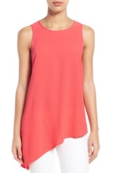 Women's Gibson Sleeveless Asymmetrical Hem Top Light Coral