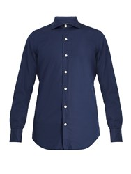 Finamore Seattle Spread Collar Cotton Poplin Shirt Navy