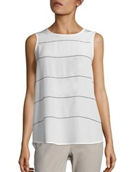 Peserico Bead Striped Silk Tank White Blue