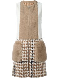 Drome Patchwork Shearling Coat Nude And Neutrals