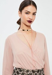 Missguided Gold And Pink Metal Plate Choker Necklace